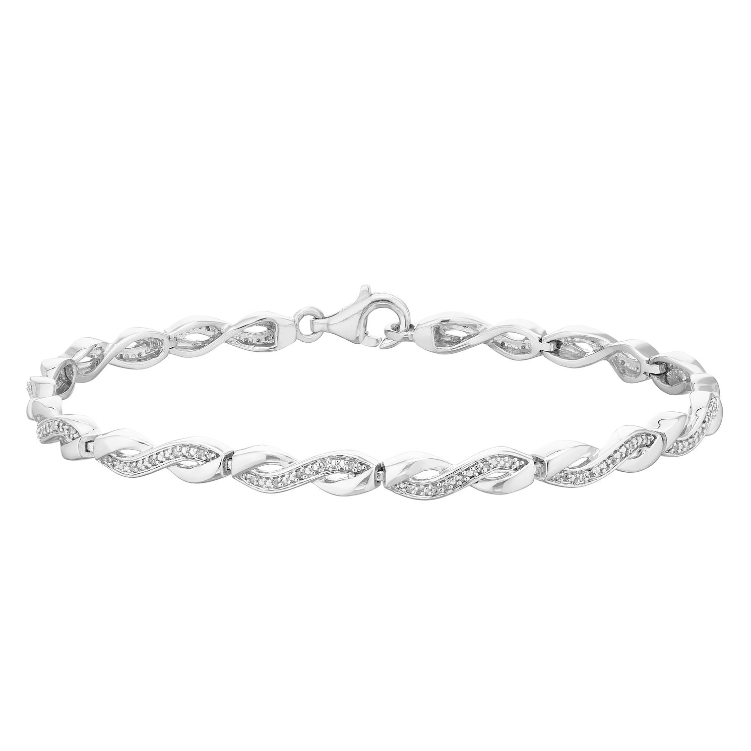 Sterling Silver 1/10ct Diamond Twisted Design Bracelet - Product number 4403584