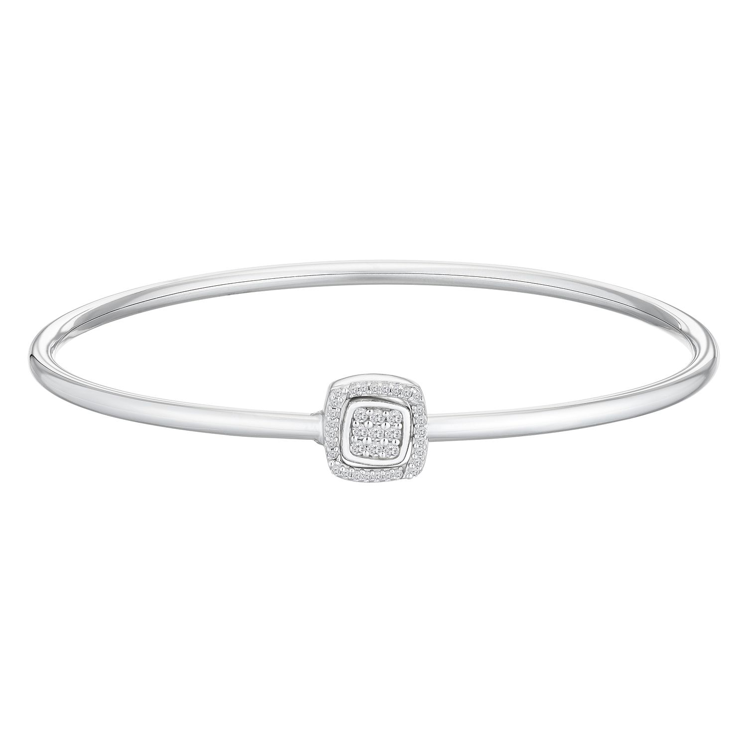 Sterling Silver 0.17ct Diamond Square Detail Bangle - Product number 4403630