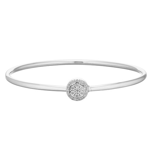 Sterling Silver 1/10ct Diamond Round Clasp Bangle - Product number 4403665