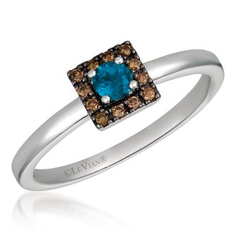 14ct Vanilla Gold Blue Topaz & Chocolate Diamond Ring - Product number 4406176