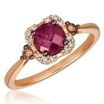 14ct Strawberry Gold Raspberry Rhodolite & Diamond Ring - Product number 4406869