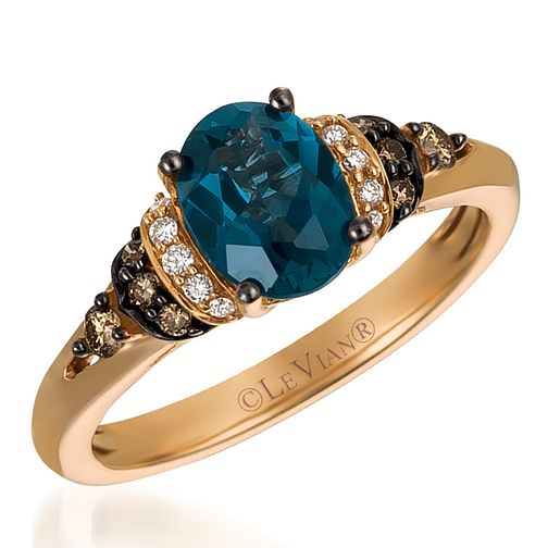 14ct Strawberry Gold Blue Topaz & Coloured Diamond Ring - Product number 4407172