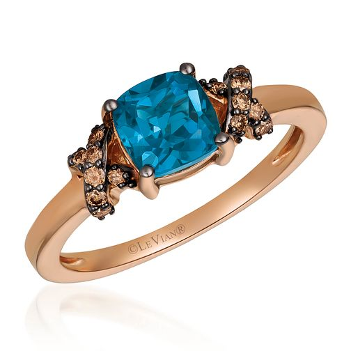 14ct Strawberry Gold Blue Topaz & Chocolate Diamond Ring - Product number 4407431