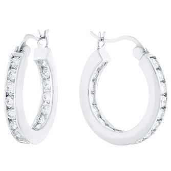 Sterling Silver Cubic Zirconia Channel Set Creole Earrings - Product number 4407687