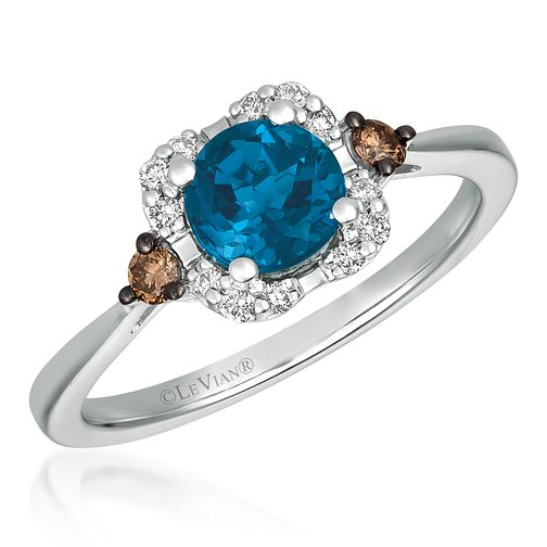 14ct Vanilla Gold Blue Topaz & Coloured Diamond Ring - Product number 4408039