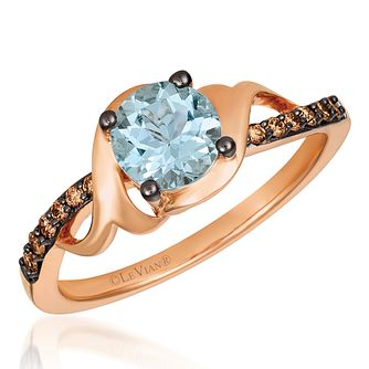 14ct Strawberry Gold Aquamarine & Chocolate Diamond Ring - Product number 4408837