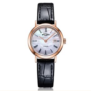 Rotary Exclusive Windsor Ladies' Black Leather Strap Watch - Product number 4410114