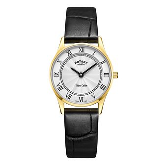 Rotary Ultra Slim Ladies' Black Leather Strap Watch - Product number 4410122