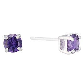 Sterling Silver Purple Cubic Zirconia Stud Earrings - Product number 4410262