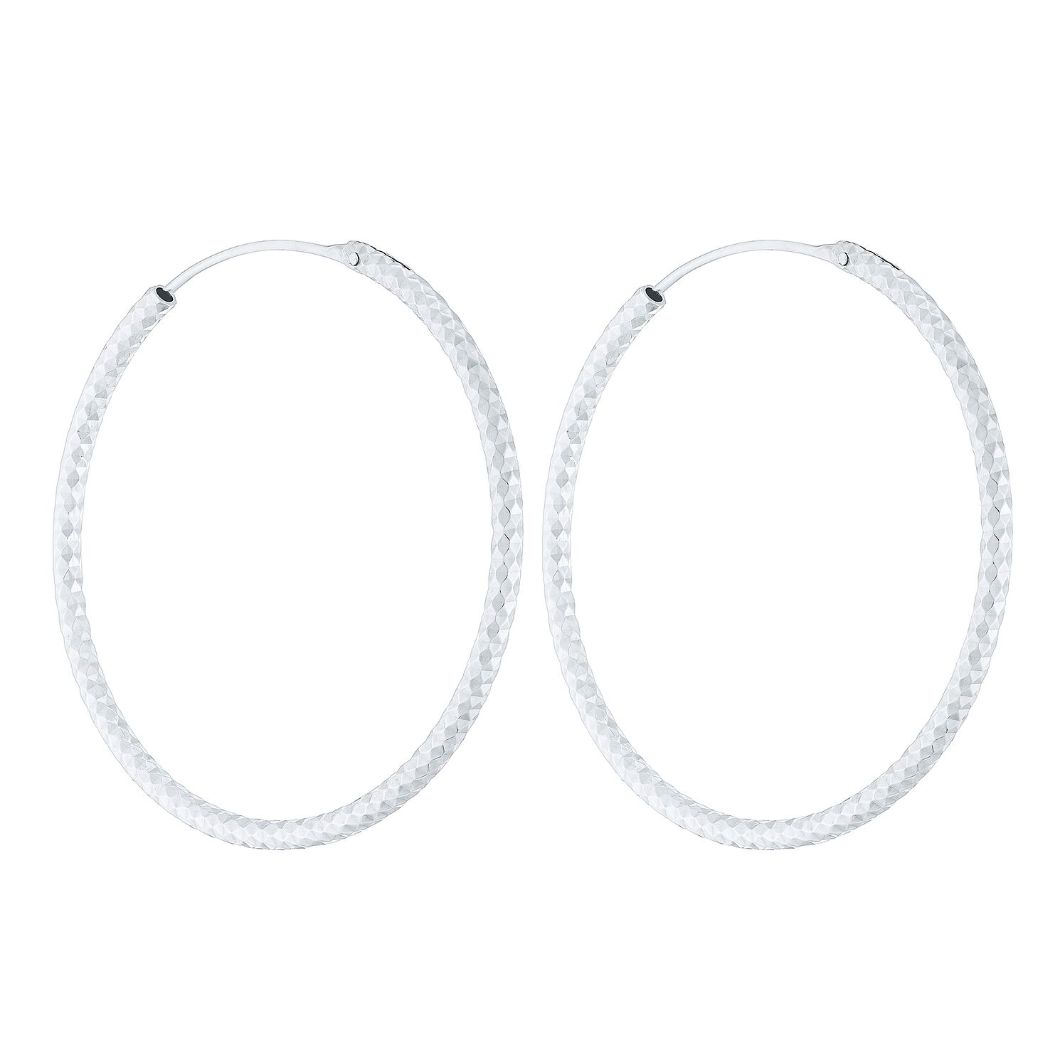 Sterling Silver Diamond Cut 35mm Sleeper Earrings - Product number 4410491