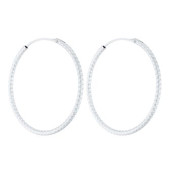 Sterling Silver Diamond Cut 35mm Large Hoop Earrings - Product number 4410491