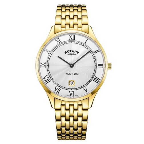 Rotary Ultra Slim Men's Gold Plated Bracelet Watch - Product number 4411358