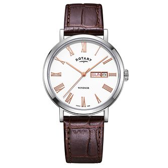 Rotary Windsor Men's Brown Leather Strap Watch - Product number 4411366