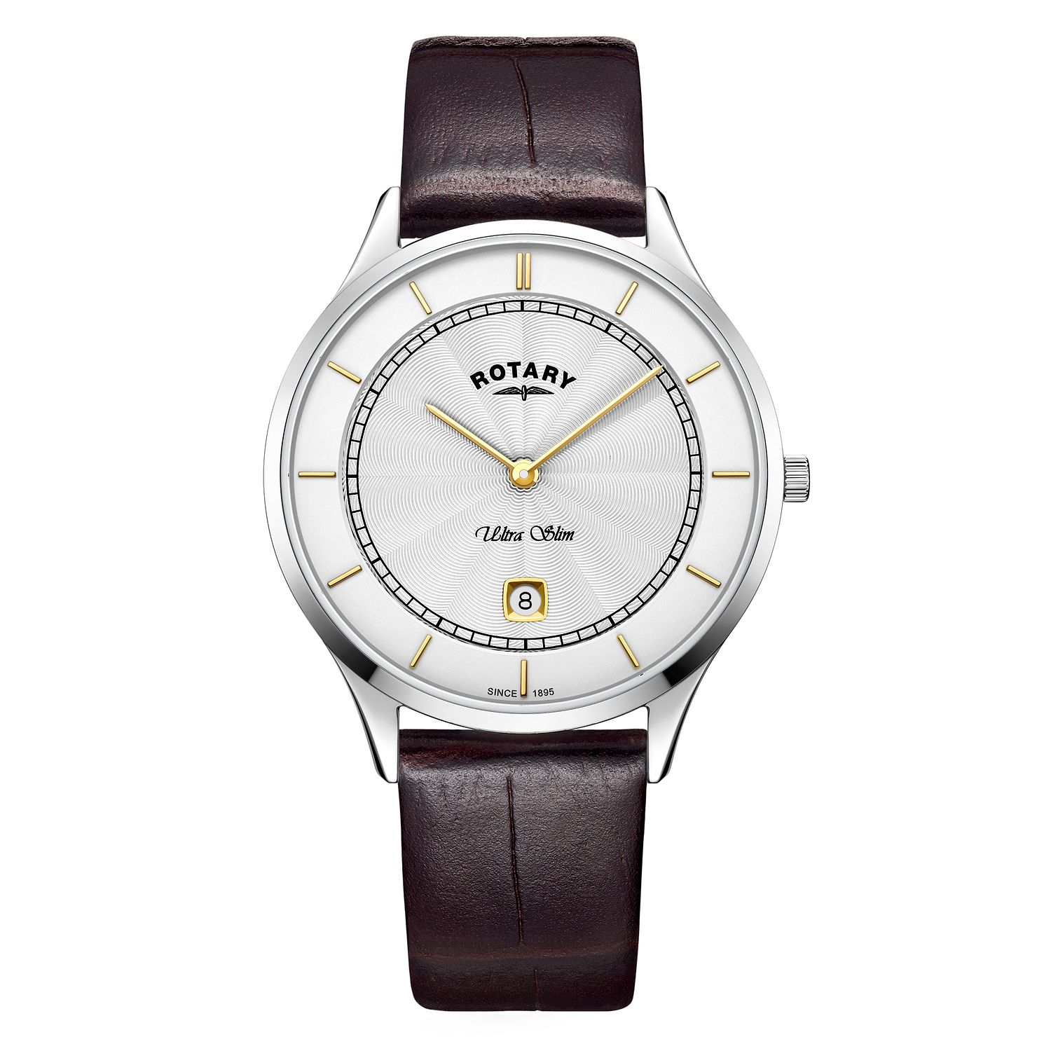 Rotary Ultra Slim Men's Brown Leather Strap Watch - Product number 4412087