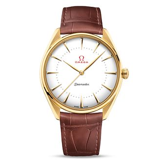 Omega 18ct Yellow Gold Seamaster Olympic Leather Strap Watch - Product number 4415922