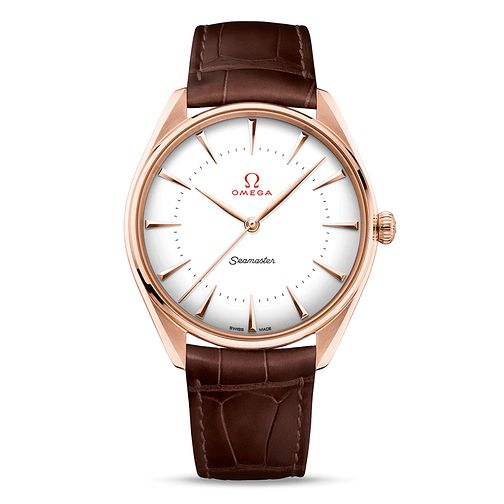 Omega Seamaster 18ct Rose Gold Men's Leather Strap Watch - Product number 4415930