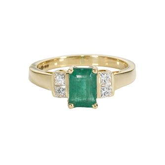 18ct Gold Emerald & 0.25ct Diamond Ring - Product number 4416619