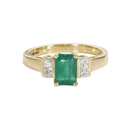 18ct gold emerald and diamond ring - Product number 4416619