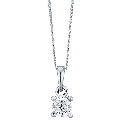 Sterling Silver Small Cubic Zirconia Solitaire Pendant - Product number 4417976