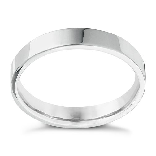 9ct White Gold Extra Heavy Flat Court 4mm Ring - Product number 4418735