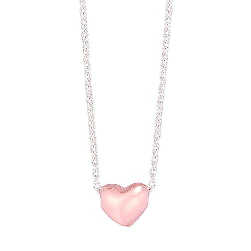 Sterling Silver Mini Rose Gold-Plated Heart Necklace - Product number 4422058
