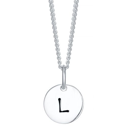 Sterling Silver Small Initial L Disc Pendant - Product number 4422260