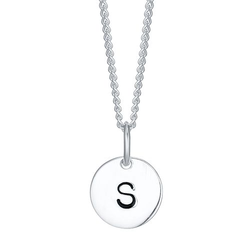 Sterling Silver Small Initial S Disc Pendant - Product number 4422465