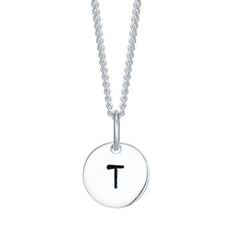 Sterling Silver Small Initial T Disc Pendant - Product number 4422481