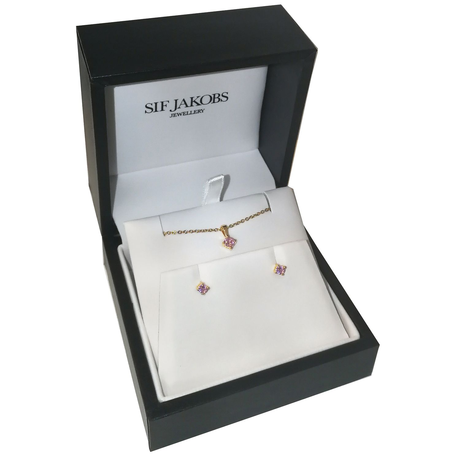Sif Jakobs Princess Gold Plated Pink Pendant & Earrings - Product number 4422511