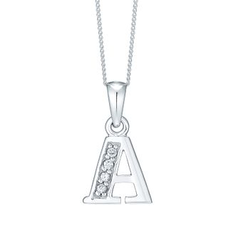 Rhodium-plated Cubic Zirconia Initial A Pendant - Product number 4422910