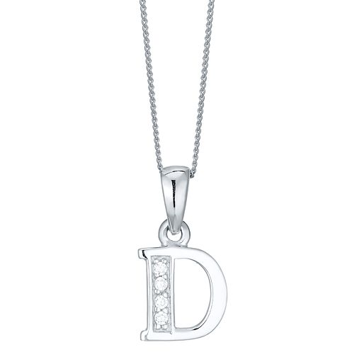 Rhodium-plated Cubic Zirconia Initial D Pendant - Product number 4422945