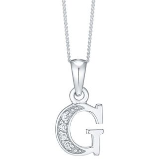 Rhodium-plated Cubic Zirconia Initial G Pendant - Product number 4423003