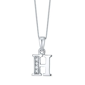 Rhodium-plated Cubic Zirconia Initial H Pendant - Product number 4423011