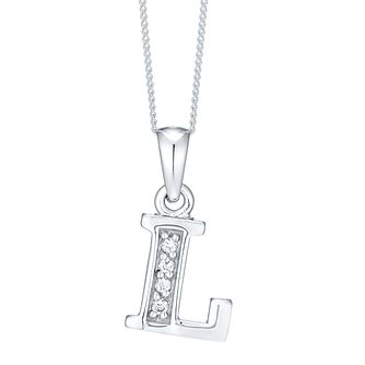 Rhodium-plated Cubic Zirconia Initial L Pendant - Product number 4423240