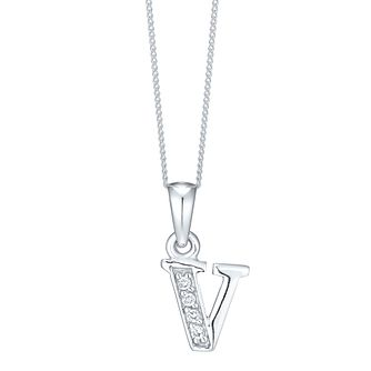 Rhodium-plated Cubic Zirconia Initial V Pendant - Product number 4423518