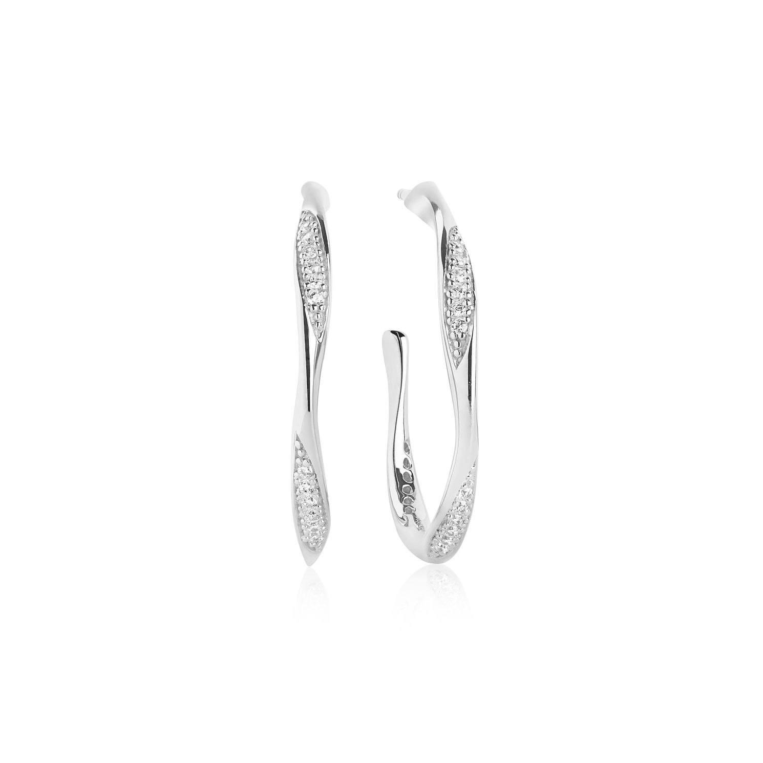 Sif Jakobs Cetara Silver Zirconia Set 24mm Hoop Earrings - Product number 4423526