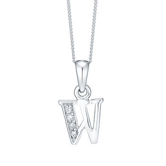 Rhodium-plated Cubic Zirconia Initial W Pendant - Product number 4423534