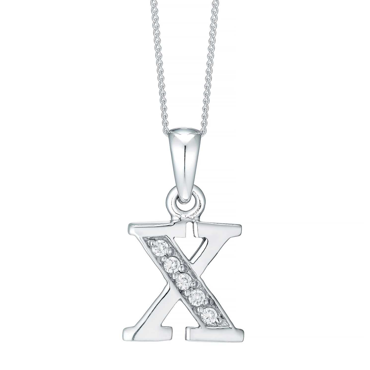 Rhodium-plated Cubic Zirconia Initial X Pendant - Product number 4423607