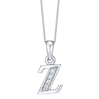 Rhodium-plated Cubic Zirconia Initial Z Pendant - Product number 4423631