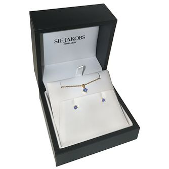 Sif Jakobs Princess 18ct Gold Plated Blue Pendant & Earrings - Product number 4424662
