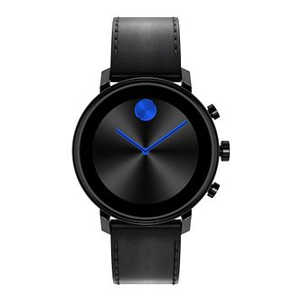Movado Connect 2.0 Black Leather Strap Smartwatch - Product number 4425243