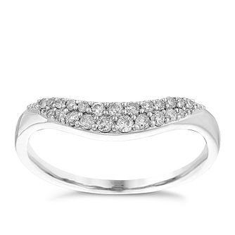 Ladies' 9ct White Gold 1/5 Carat Diamond Shaped Round Band - Product number 4434595