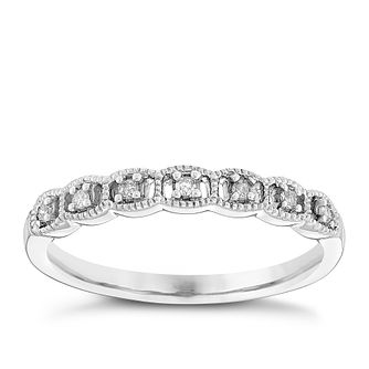 Ladies' 9ct White Gold Diamond Set Milgrain Band - Product number 4436008