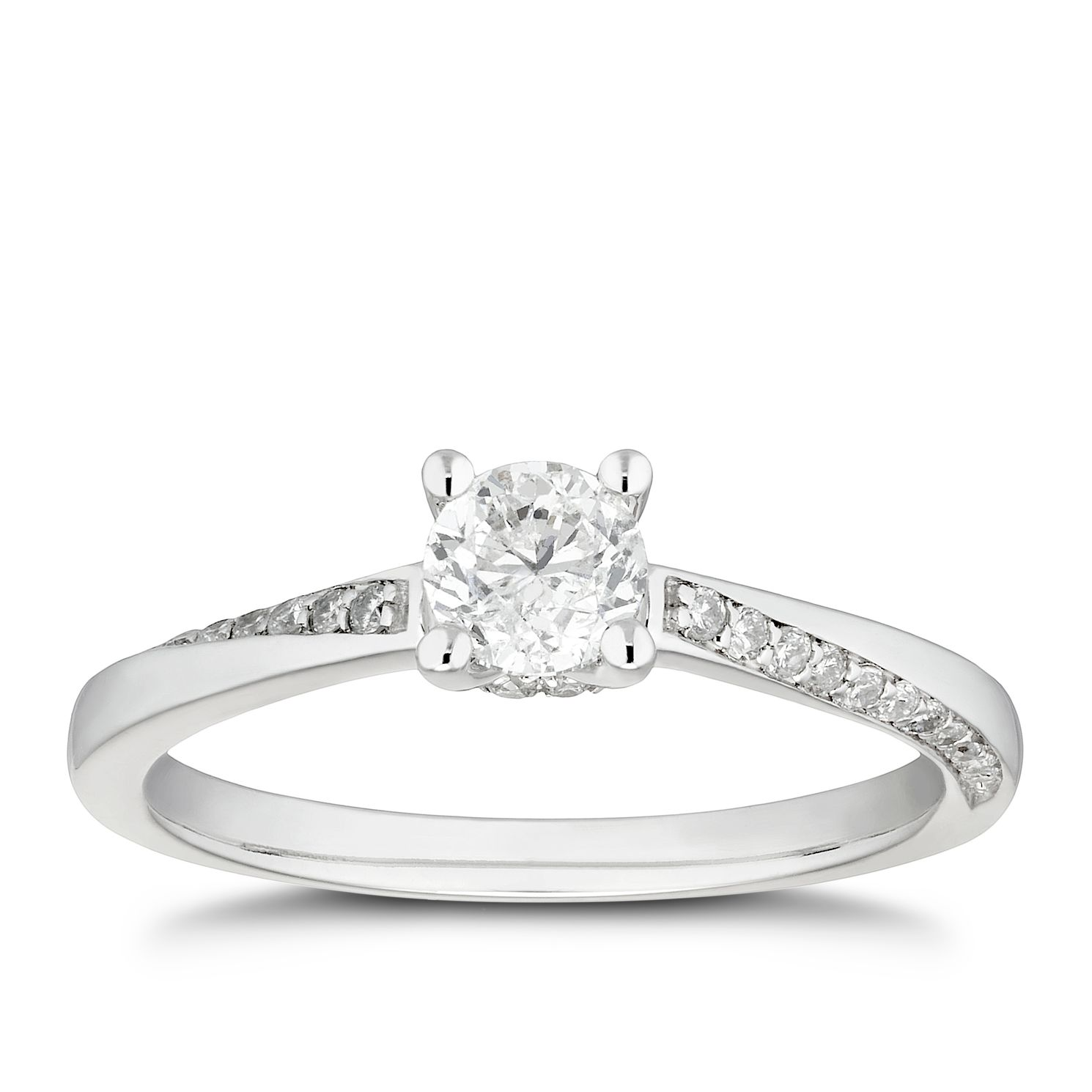 Platinum 1/2ct Diamond Solitaire Twist Shoulders Ring - Product number 4440226