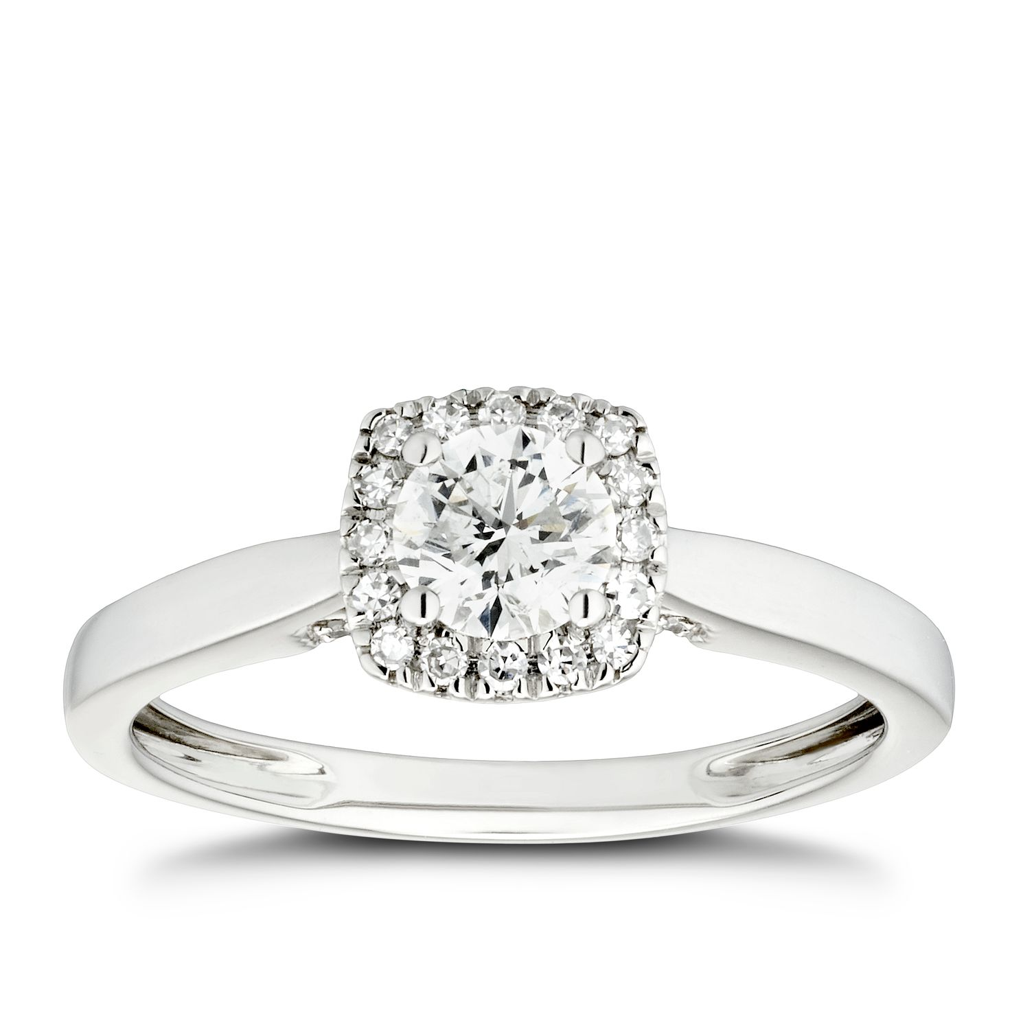 Platinum 1/2ct Diamond Cushion Halo & Hidden Stones Ring - Product number 4441168
