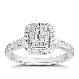 18ct White Gold 1/2ct Diamond Emerald-Cut Double Halo Ring - Product number 4441281