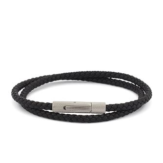 BOSS Double Wrap Braided Black Leather Cuff - Product number 4441540