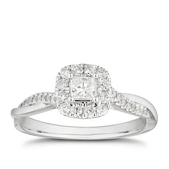 18ct White Gold 0.40ct Total Diamond Princess-Cut Halo Ring - Product number 4441761