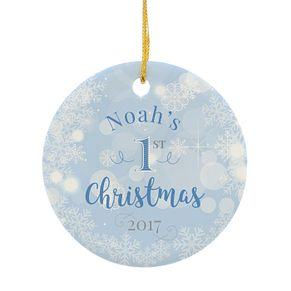 Personalised Blue My 1st Christmas Round Ceramic Decoration - Product number 4442318