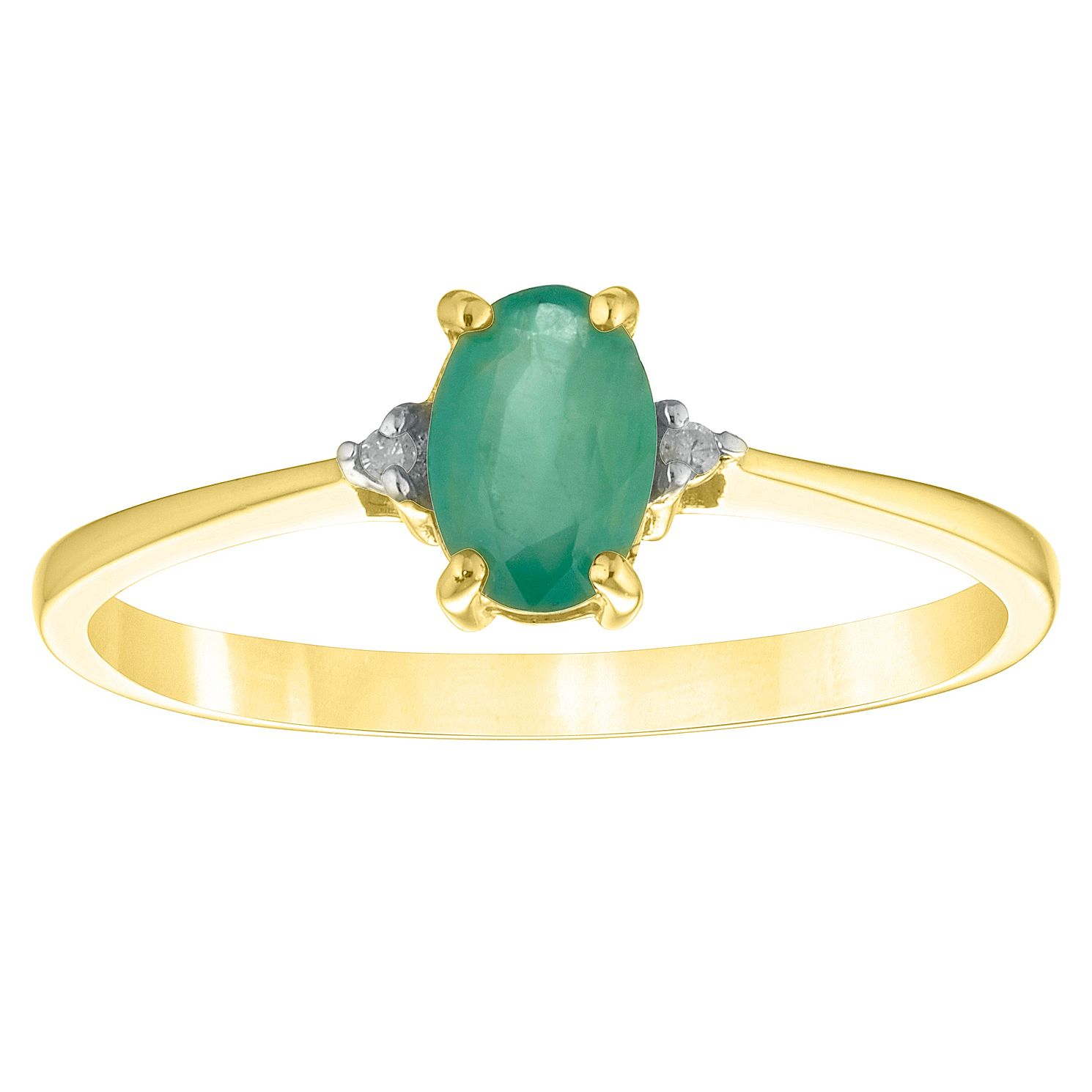 9ct Yellow Gold Oval Emerald & Diamond Ring - Product number 4442490